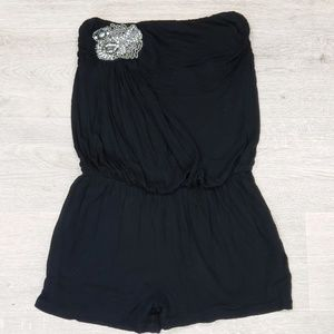 MISS ME Strapless Embellished Romper with Pockets